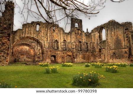 Ruin of medieval Kirkstall Abbey near Leeds.
