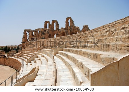 Ruin of Roman Colosseum in El-Jem, Tunisia (UNESCO World Heritage)