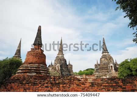 Ruin of stupa in Ayudhaya, the old city of Thailand