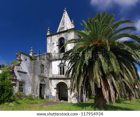 Ruin of the church Nossa Senhora da Ajuda in Pedro Miguel (Faial island, Azores) - the church was destroyed during the 1998 earthquake