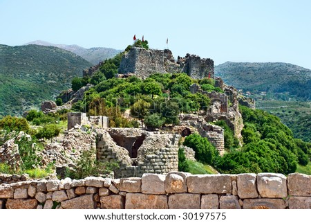 Ruined ancient Nimrod fortress on the Golan Heights, Israel - stock photo
