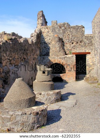 Ruined bakery at the archaeological site of Pompeii, Italy