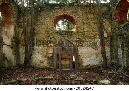 Ruined baroque church - stock photo