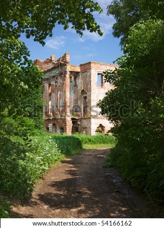 ruined brick mansion in the forest, Serpuhov, Russia