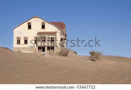 Ruined building in the ghost town of Kolmanskoppe, Luderitz, Namibia