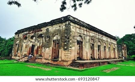 Ruined Building of Doctor Fayrer's Residence in Lucknow Residency, India. This building was made 1790's & one of the important building of Lucknow residency. This building witnessed the revolt of 1857