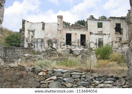 ruined building - taken at Gairo Vecchio - a village devastated by a flood, Sardinia, Italy - stock photo