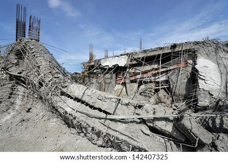Ruined buildings from accident, Thailand