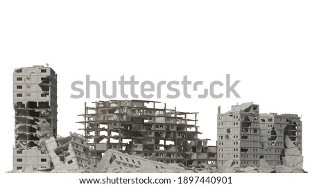 Ruined buildings isolated on white 3d illustration Photo stock ©