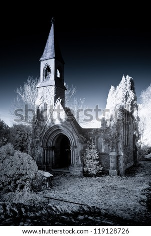 ruined chapel shot using infra red equipment