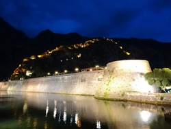 Ruined Fortifications of Kotor in Kotor, Montenegro. Fortifications of Kotor are an integrated historical fortification system that protected the medieval town of Kotor, an UNESCO Heritage Site.