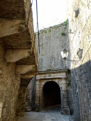 Ruined Fortifications of Kotor in Kotor, Montenegro. Fortifications of Kotor are integrated historical fortification system that protected the medieval town of Kotor, an UNESCO Heritage Site. 2017-6