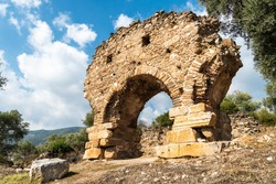 Ruined gate at Nysa ancient site in Aydin province of Turkey. Nysa on the Meander belonged to Caria but under the Roman Empire it was within the province of Asia which had Ephesus for its capital.