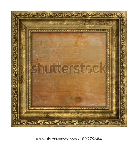 Ruined golden frame with wooden interior isolated on white