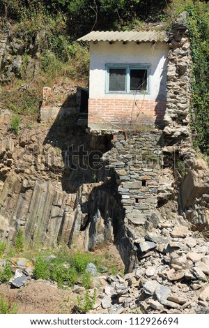 ruined house in Vernazza, Italy, destroyed during flood of 25 october 2011