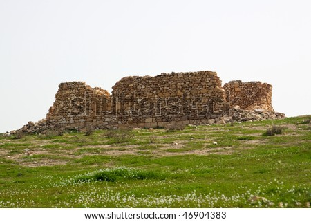 Ruined house on a field with grass