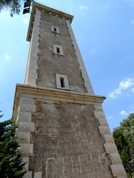 Ruined lighthouse in Cephalonia village on Cephalonia island in Greece. Cephalonia is the largest of the Ionian Islands in western Greece.