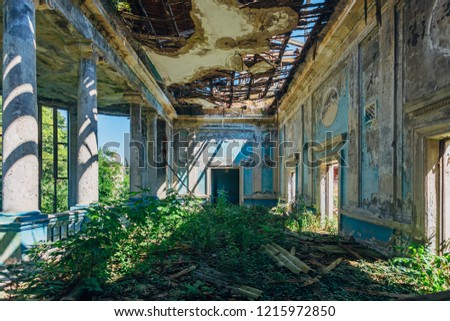 Ruined mansion hall interior overgrown by plants. Nature and abandoned architecture, green post-apocalyptic concept.