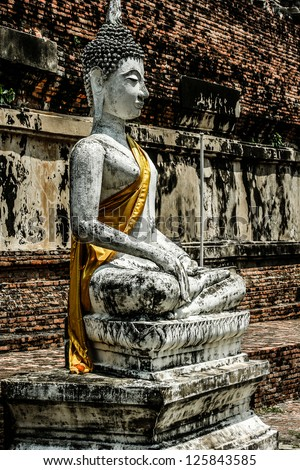 Ruined Old Temple of Ayutthaya, Thailand, ( HDR image )