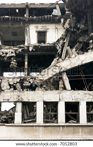 Ruined residential building after strong earthquake eruption