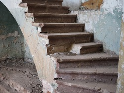 ruined staircase in an old castle or house