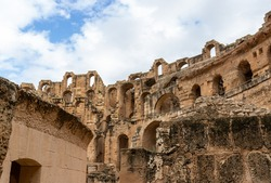 Ruined stone walls of the Amphitheatre of El Jem, Tunisia.