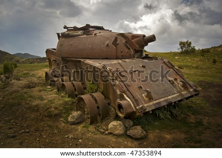 Ruined Tank on the Roadside