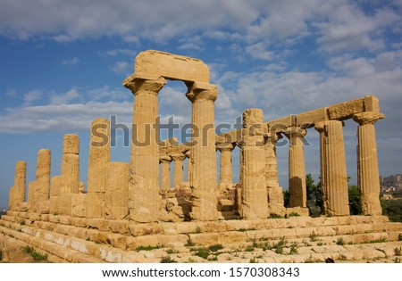 Ruined Temple of Hera or Temple of Juno Lacinia, Valley of the Temples, Agrigento, Sicily, Italy #1570308343
