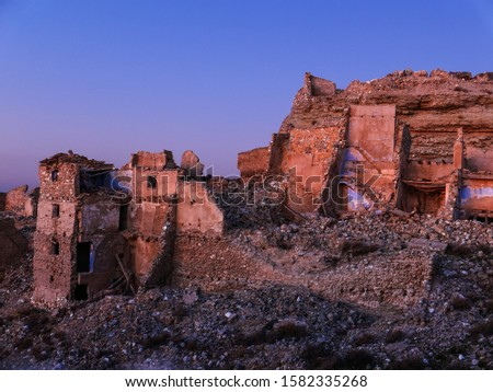 Ruined town of the Spanish civil war. The town is 'Roden', near Zaragoza, and is one of the 5 villages that were not rebuilt after the war. Stock foto ©