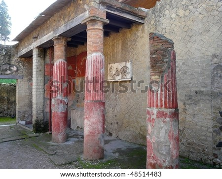 Ruined villa at the ancient Roman city of Herculaneum, which was destroyed and buried by ash during the eruption of Mount Vesuvius in 79 AD