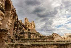Ruined walls of the Amphitheatre of El Jem, Tunisia.