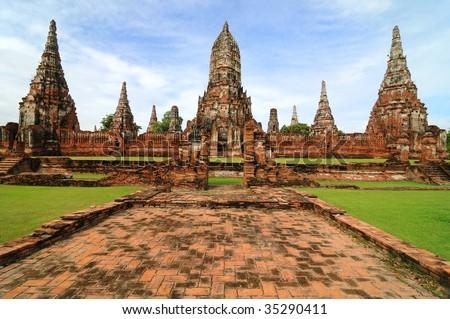 Ruined wat in old Siam Kingdom capital Ayutthaya. Thailand