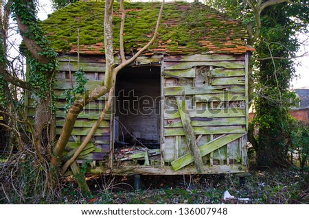 ruined wooden building