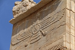 Ruins and bas reliefs carvings of ancient city Persepolis, Iran. Capital of the Achaemenid Empire. UNESCO World Heritage Site