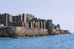 ruins architecture of world heritage site called Gunkanjima Nagasaki