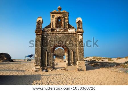 Ruins at Dhanushkodi Beach, Destroyed Building in the Ghost Town of Dhanushkodi, Tamil Nadu, India