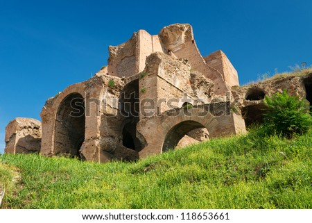 Ruins at the Palatine Hill in Rome, Italy