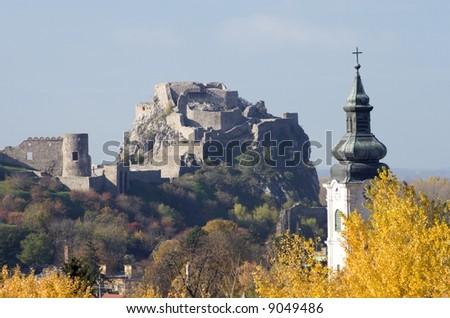 ruins devin by bratislava - stock photo