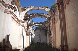 Ruins from a cathedral in Mexico, ruins from past centuries. Old architecture and ancient building