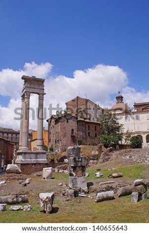 Ruins from the ancient Rome close to Roman Forum and in the very center of Rome