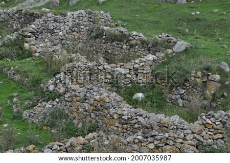 Ruins in medieval Alan settlements that were left by the Balkars, who still live in the North Caucasus today Stok fotoğraf ©