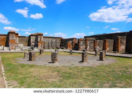Ruins in Pompeii after being buried by volcano in 79AD in Italy, Europe
