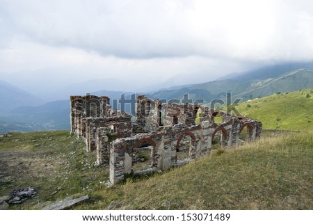 Ruins of a building in mountains