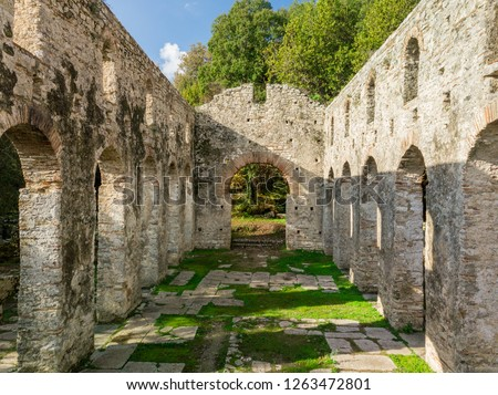 ruins of a Byzantine  church in butrint heritage park , part of UNESCO. this is one of the top best touristic attractions to visit in europe and albania . butrint, saranda, albania