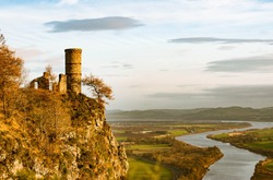 Ruins of a castle on a Kinnoull Hill in Perthshire, Scotland on the background of the valley  river Tay