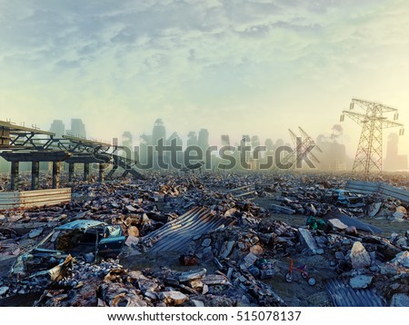Shutterstock Ruins of a city. Apocalyptic landscape.3d illustration concept