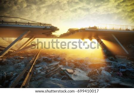 Ruins of a city. Apocalyptic landscape.3d illustration concept