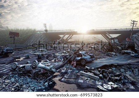 Ruins of a city highway. Apocalyptic landscape.3d illustration concept