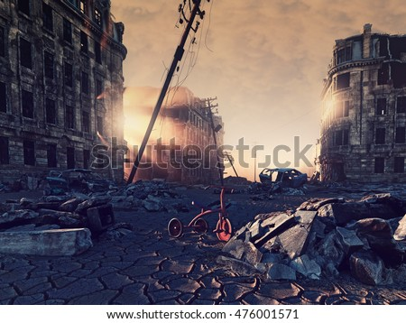 ruins of a city with a crack in the street. 3d illustration concept