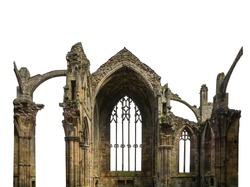 Ruins of a gothic church isolated on white background